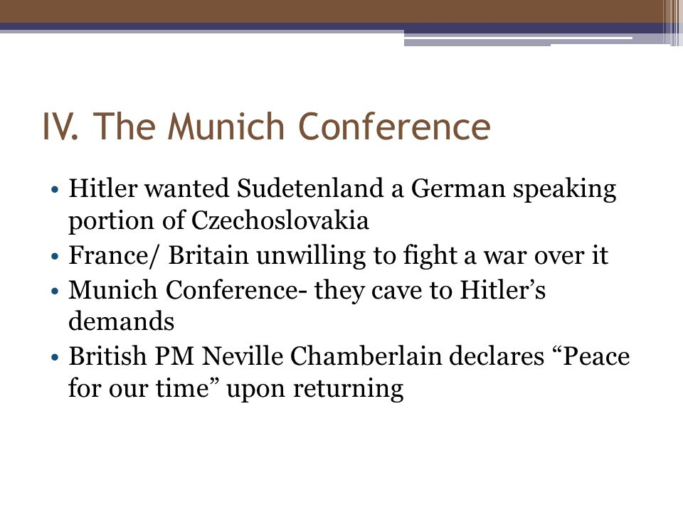 IV. The Munich Conference