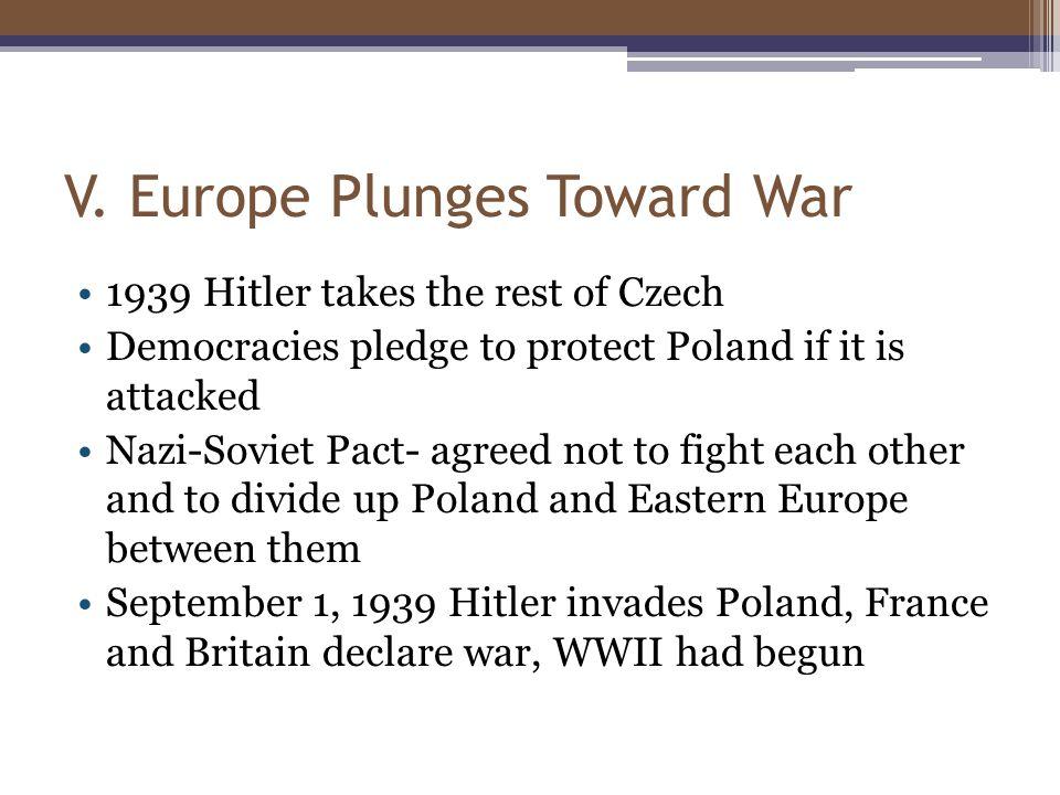 V. Europe Plunges Toward War