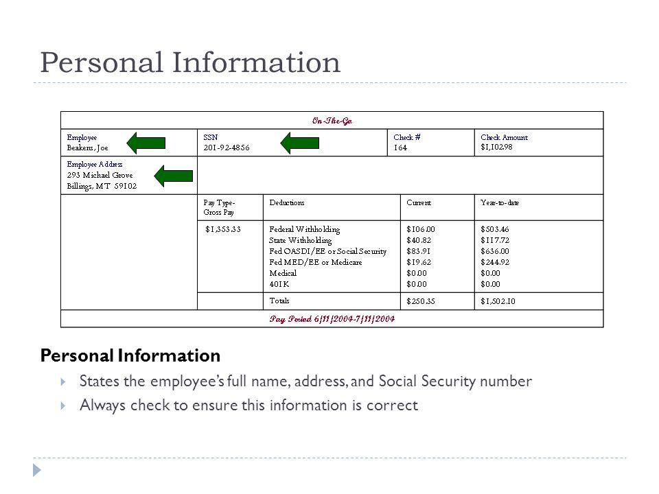 Personal Information Personal Information