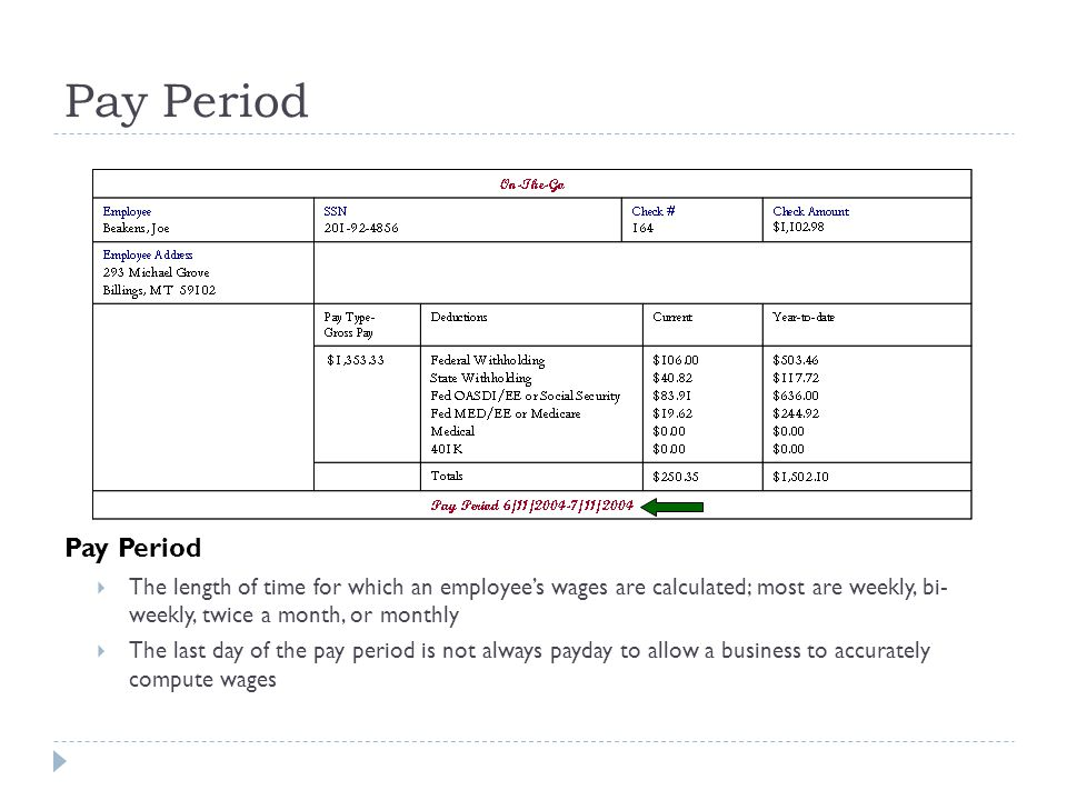 Pay Period Pay Period. The length of time for which an employee's wages are calculated; most are weekly, bi- weekly, twice a month, or monthly.