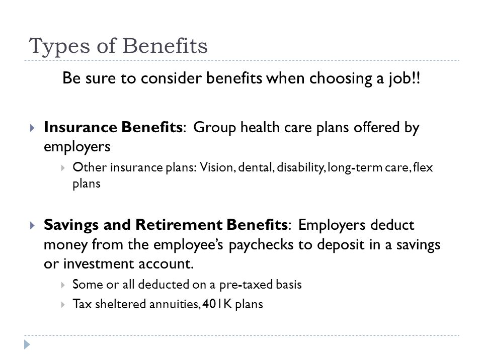Be sure to consider benefits when choosing a job!!