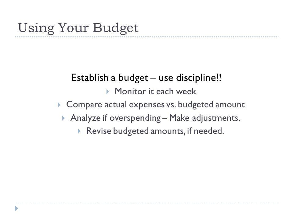 Using Your Budget Establish a budget – use discipline!!