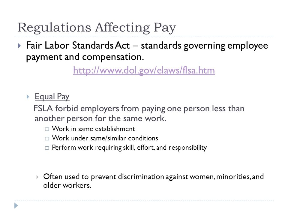 Regulations Affecting Pay