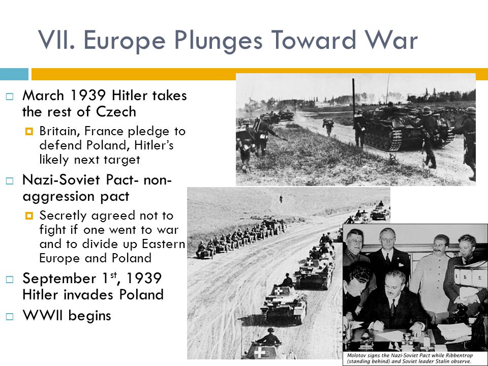 VII. Europe Plunges Toward War