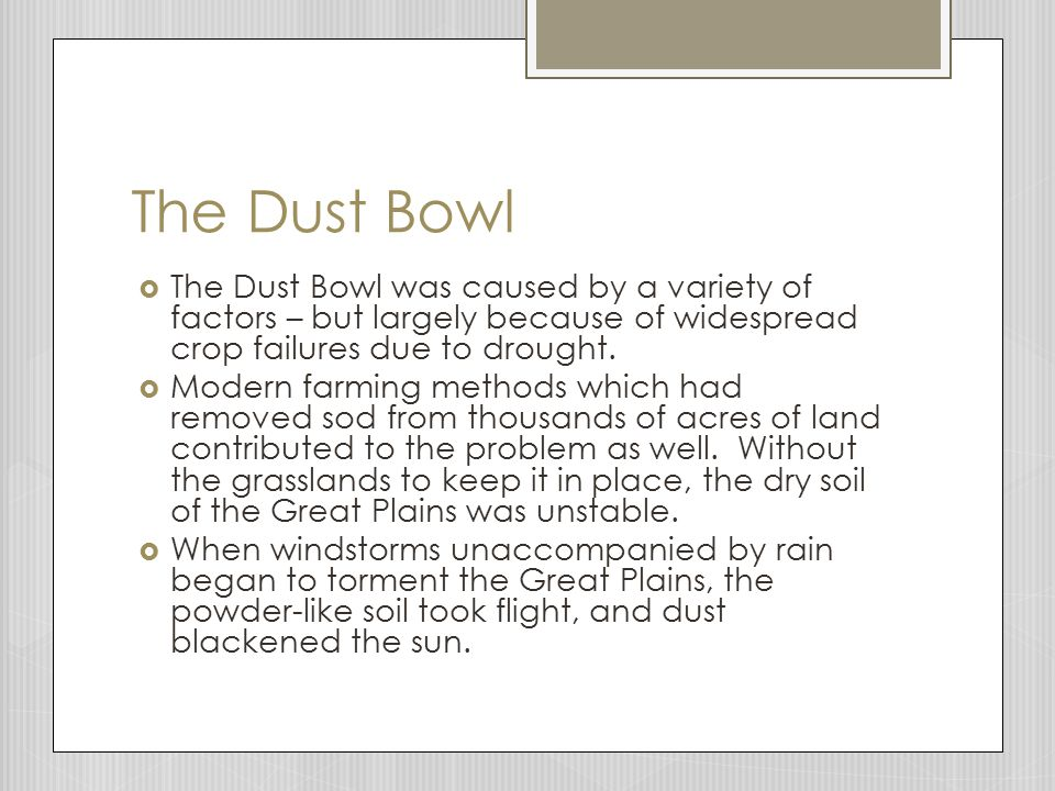 The Dust Bowl The Dust Bowl was caused by a variety of factors – but largely because of widespread crop failures due to drought.