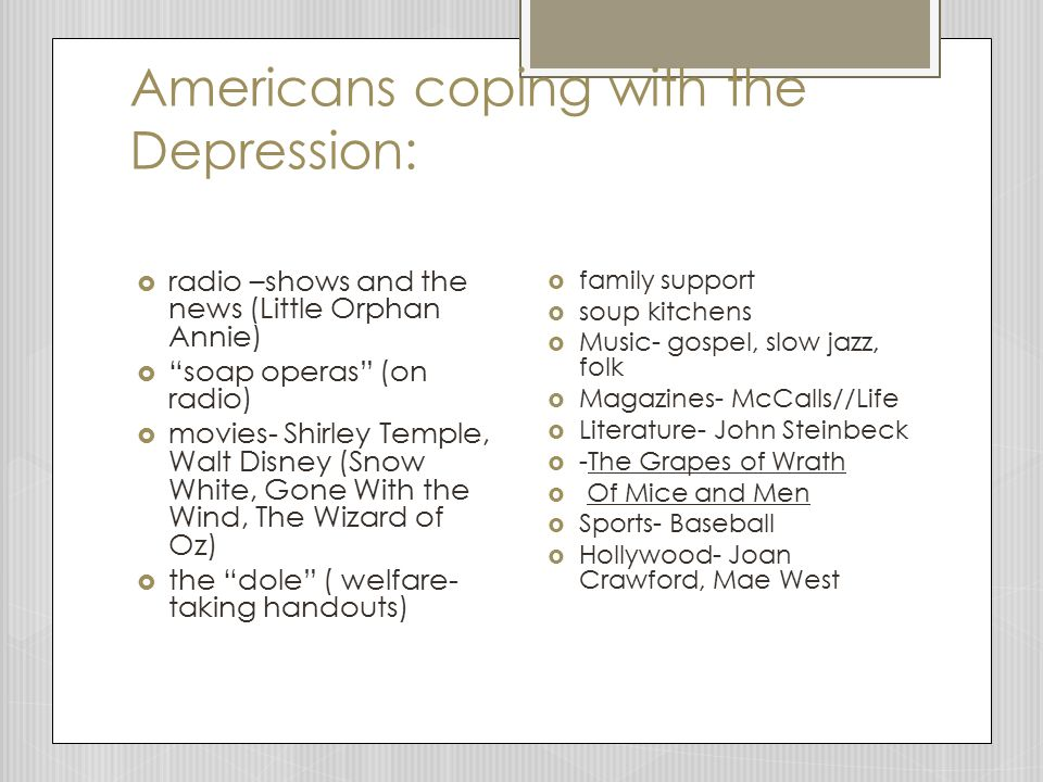 Americans coping with the Depression:
