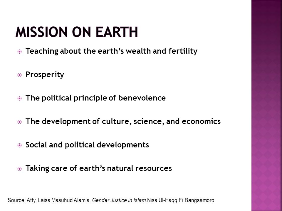 Mission on earth Teaching about the earth's wealth and fertility