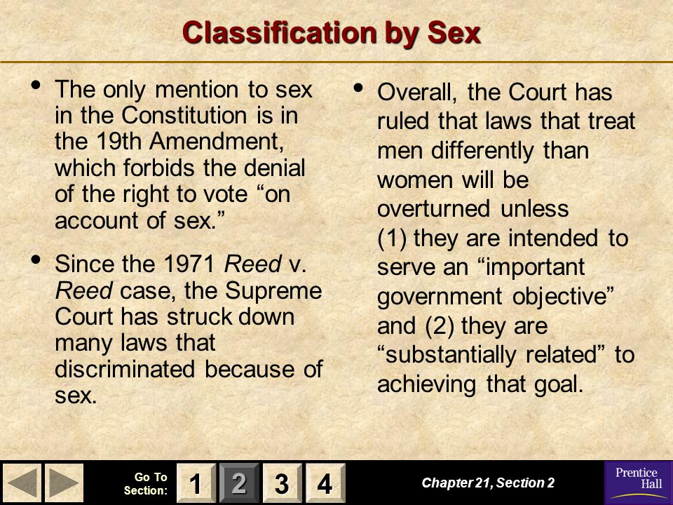 Classification by Sex