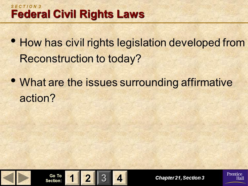 S E C T I O N 3 Federal Civil Rights Laws