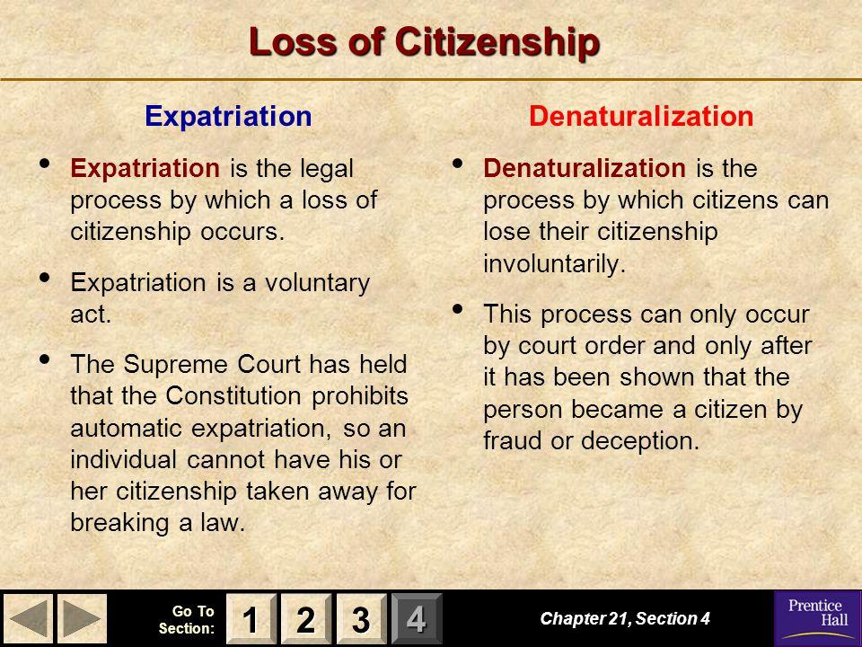 Loss of Citizenship 1 2 3 Expatriation Denaturalization