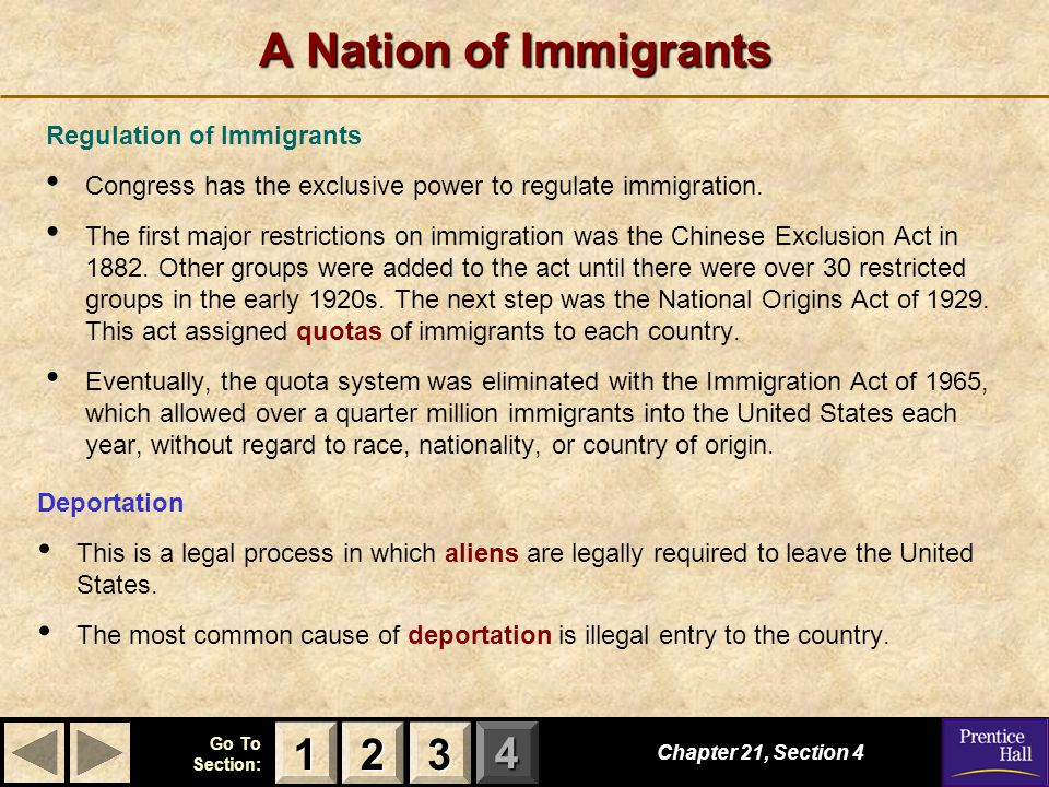 A Nation of Immigrants 1 2 3 Regulation of Immigrants