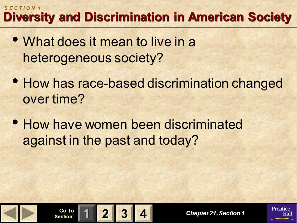 S E C T I O N 1 Diversity and Discrimination in American Society