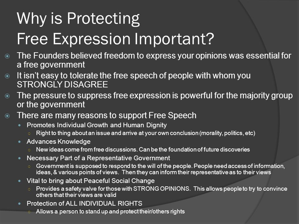 Why is Protecting Free Expression Important