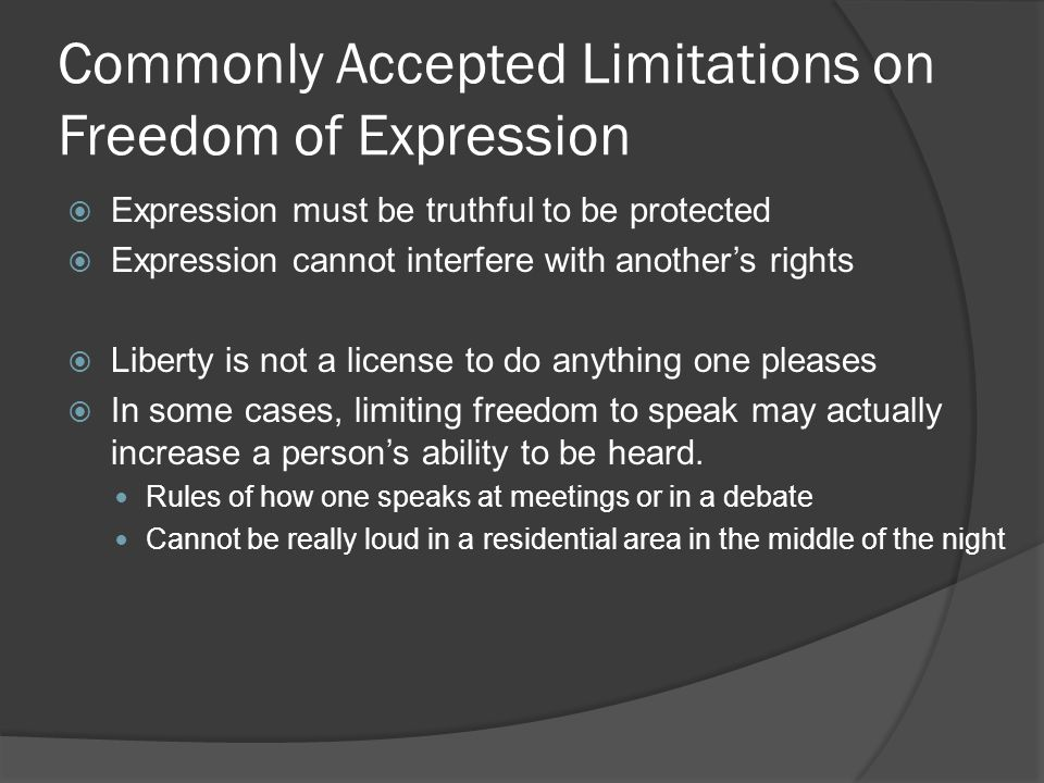 Commonly Accepted Limitations on Freedom of Expression