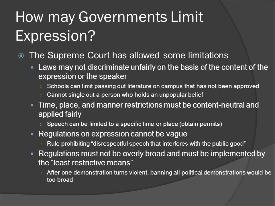 How may Governments Limit Expression