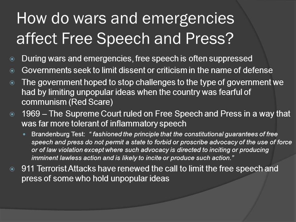How do wars and emergencies affect Free Speech and Press