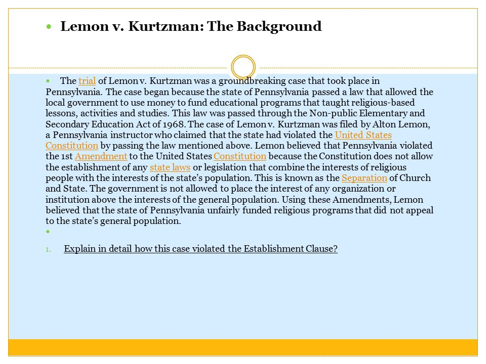 Lemon v. Kurtzman: The Background