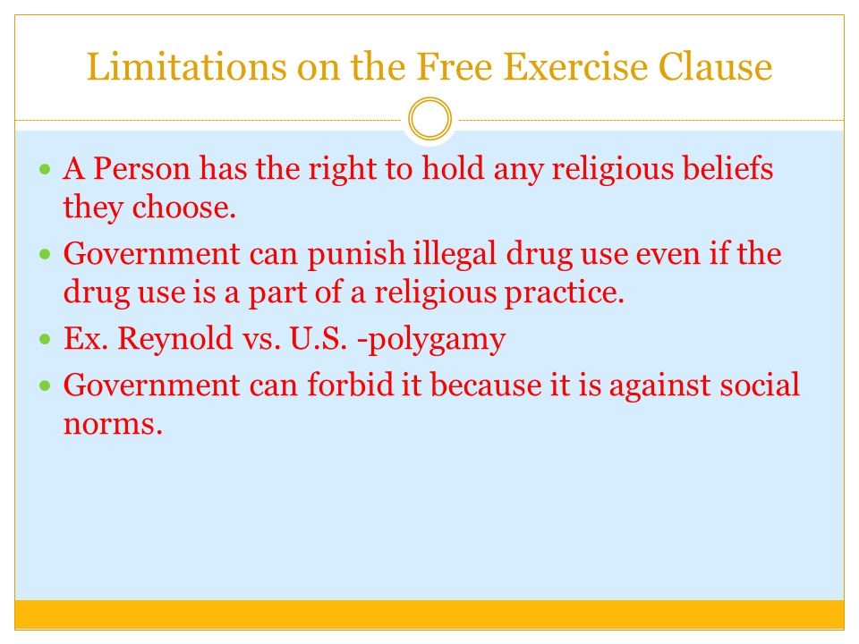 Limitations on the Free Exercise Clause