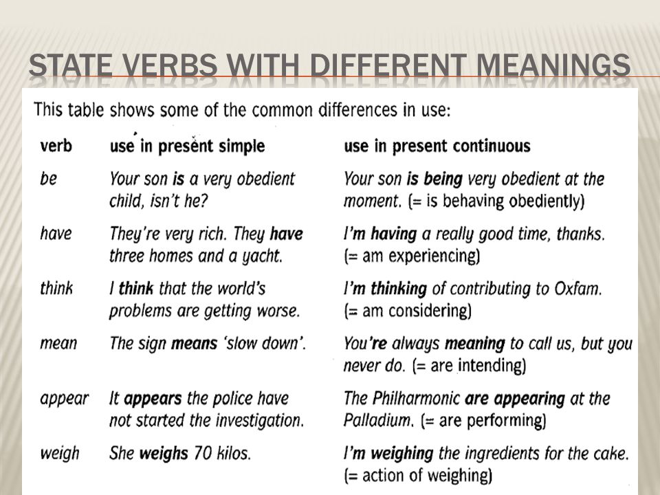 STATE VERBS WITH DIFFERENT MEANINGS