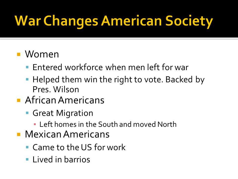 War Changes American Society