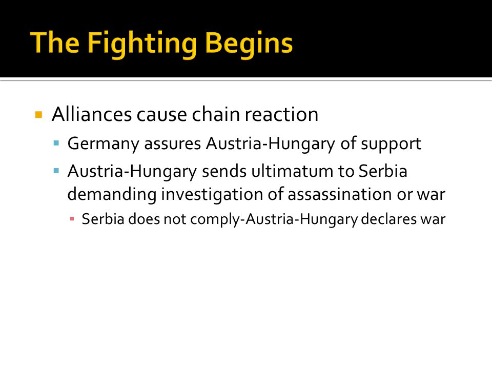 The Fighting Begins Alliances cause chain reaction