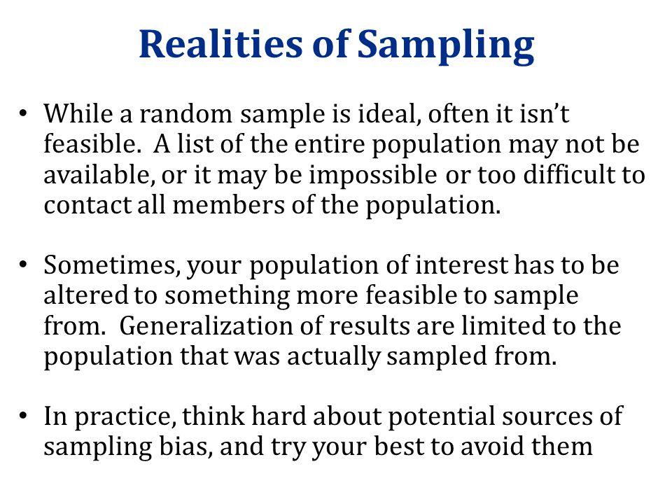 Realities of Sampling