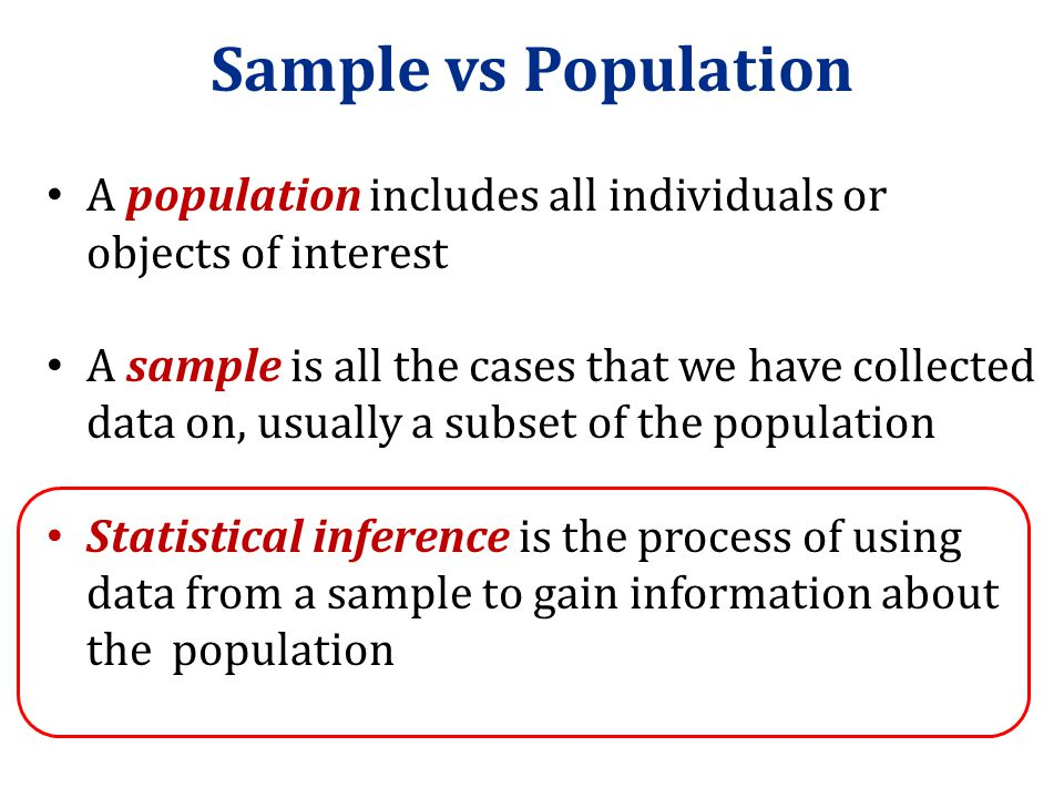 Sample vs Population A population includes all individuals or objects of interest.