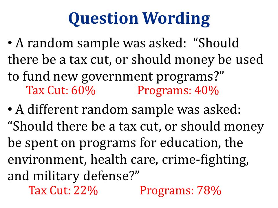 Question Wording A random sample was asked: Should there be a tax cut, or should money be used to fund new government programs