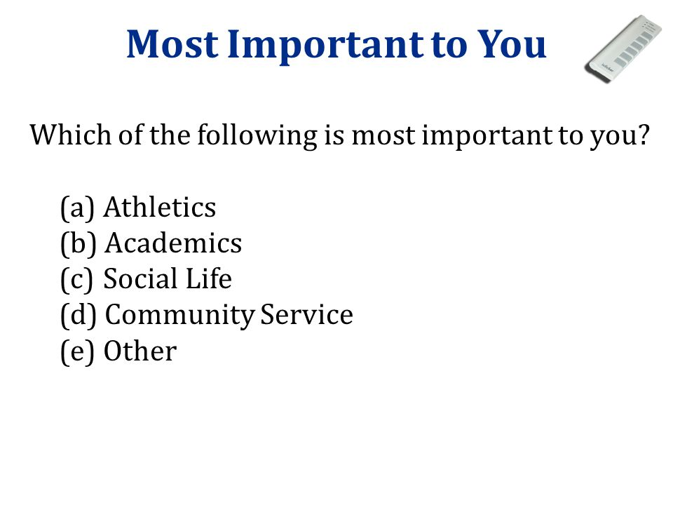 Most Important to You Which of the following is most important to you