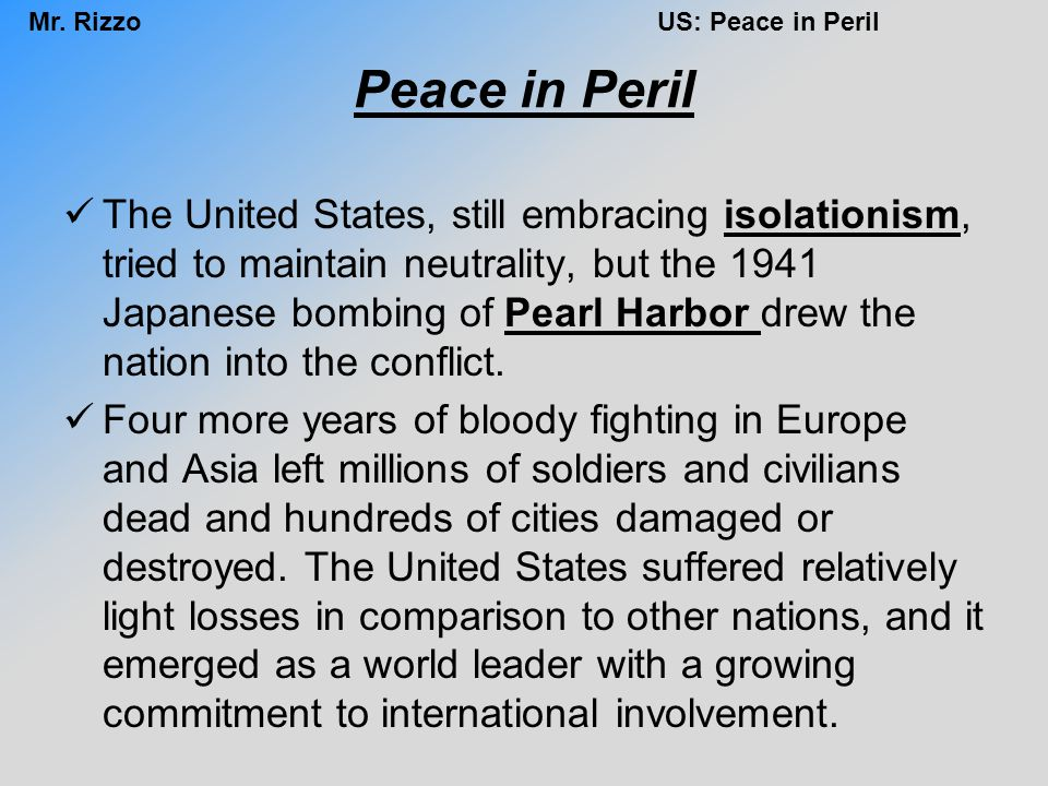 Peace in Peril
