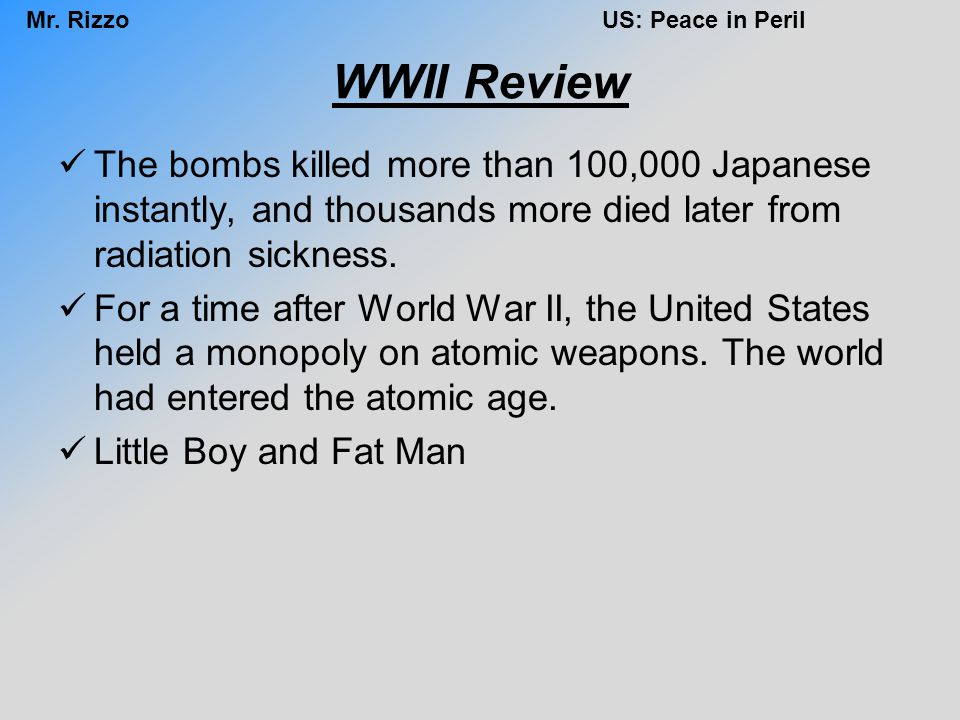WWII Review The bombs killed more than 100,000 Japanese instantly, and thousands more died later from radiation sickness.
