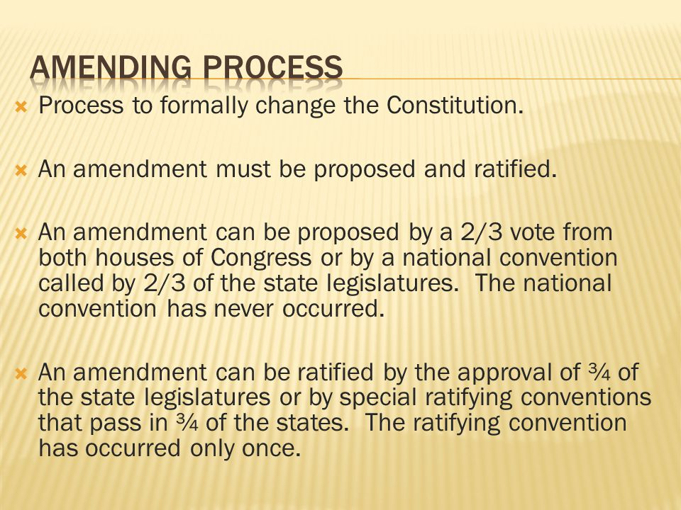 Amending Process Process to formally change the Constitution.