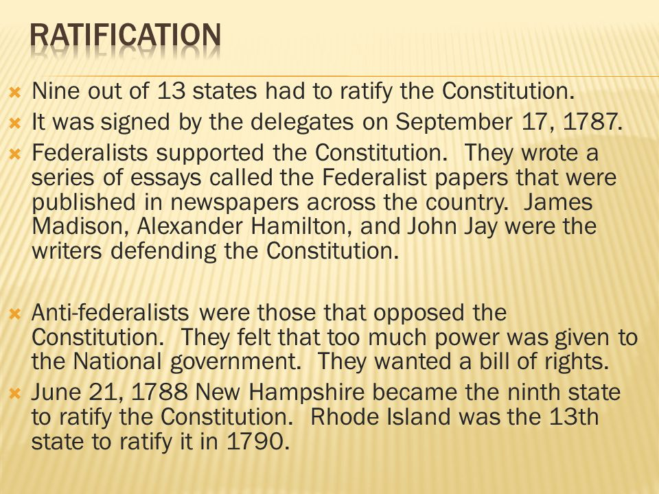 Ratification constitution essays