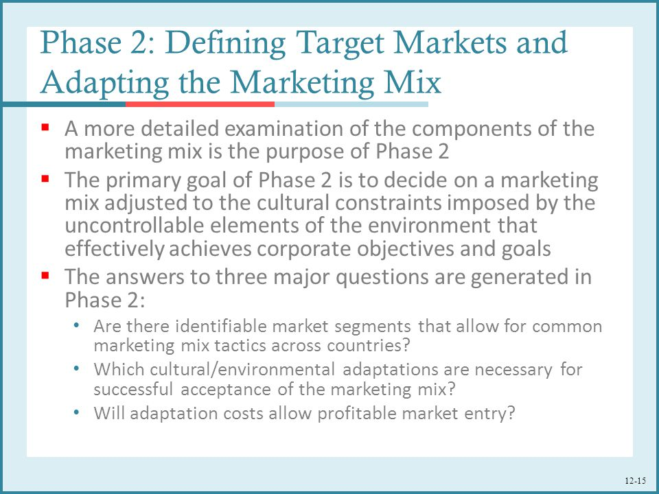 Phase 2: Defining Target Markets and Adapting the Marketing Mix