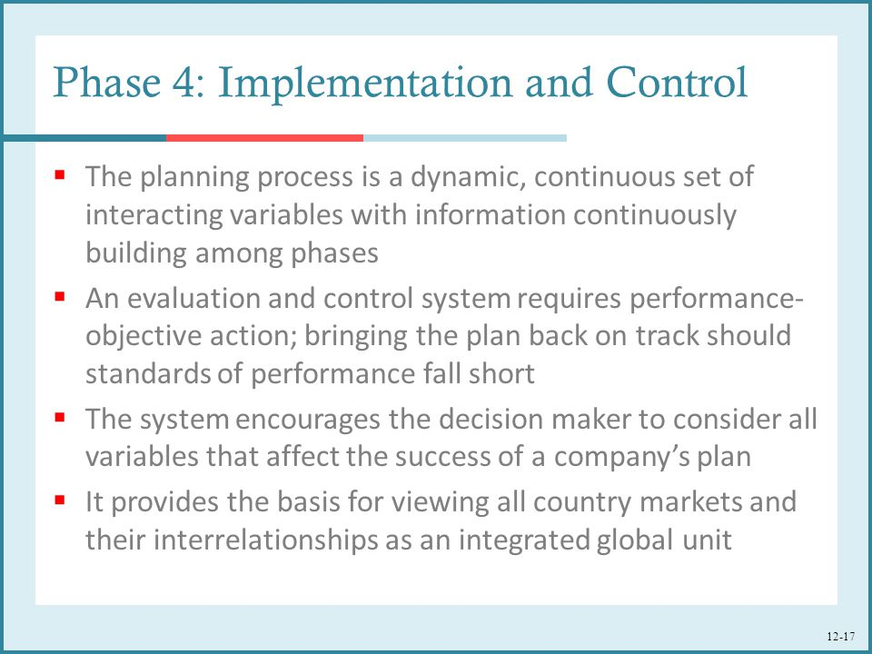 Phase 4: Implementation and Control