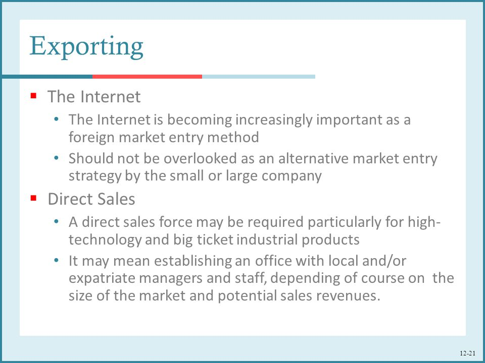 Exporting The Internet Direct Sales