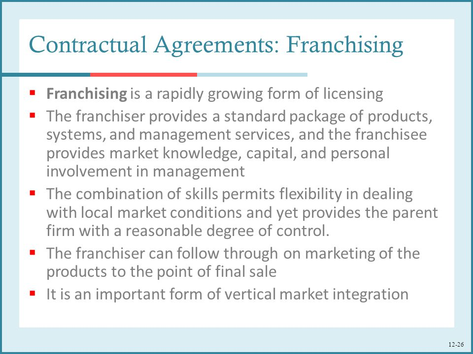 Contractual Agreements: Franchising