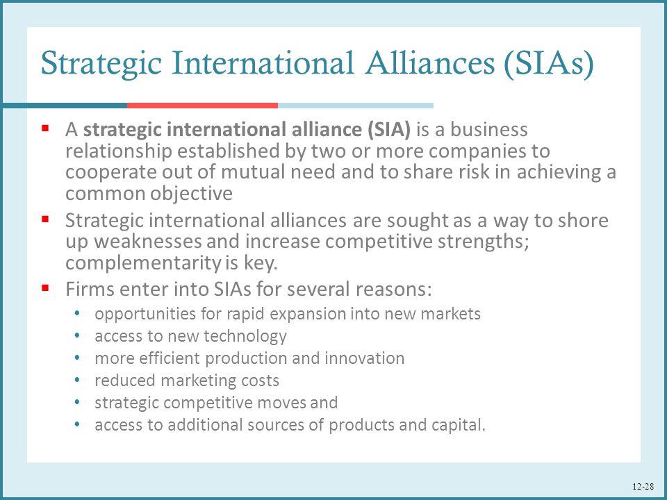 Strategic International Alliances (SIAs)