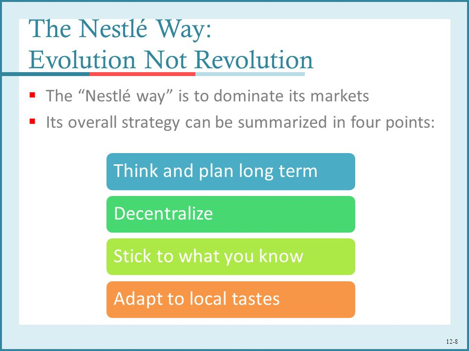 The Nestlé Way: Evolution Not Revolution