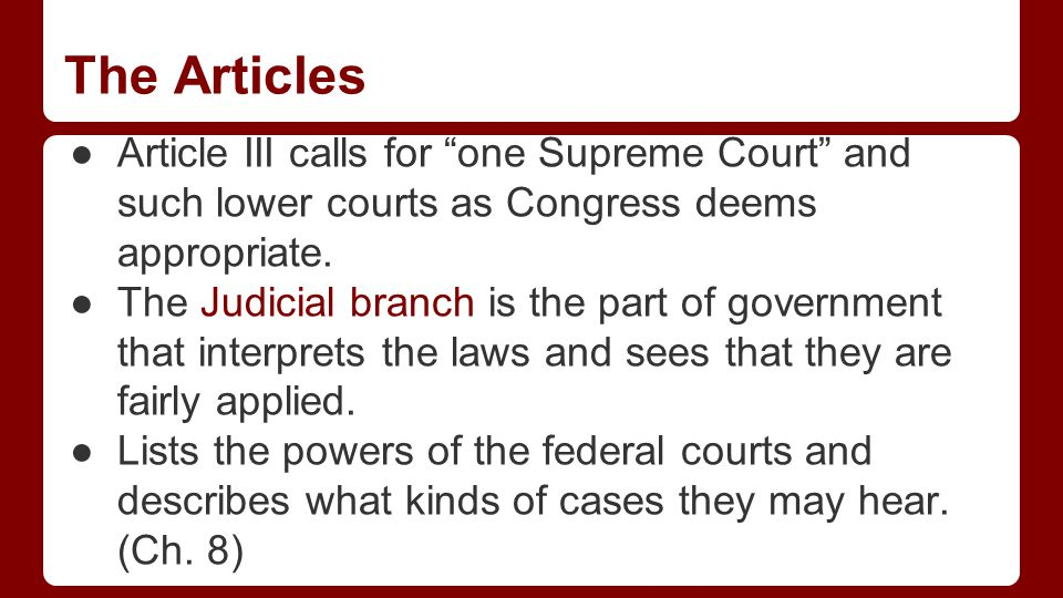 The Articles Articles IV explains the relationship between the states and the national gov't.