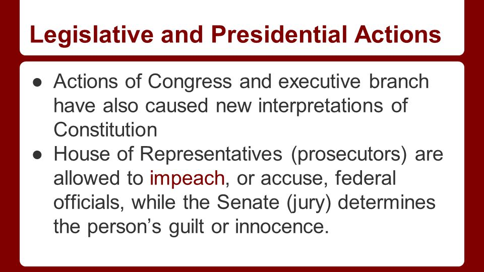 Legislative and Presidential Actions