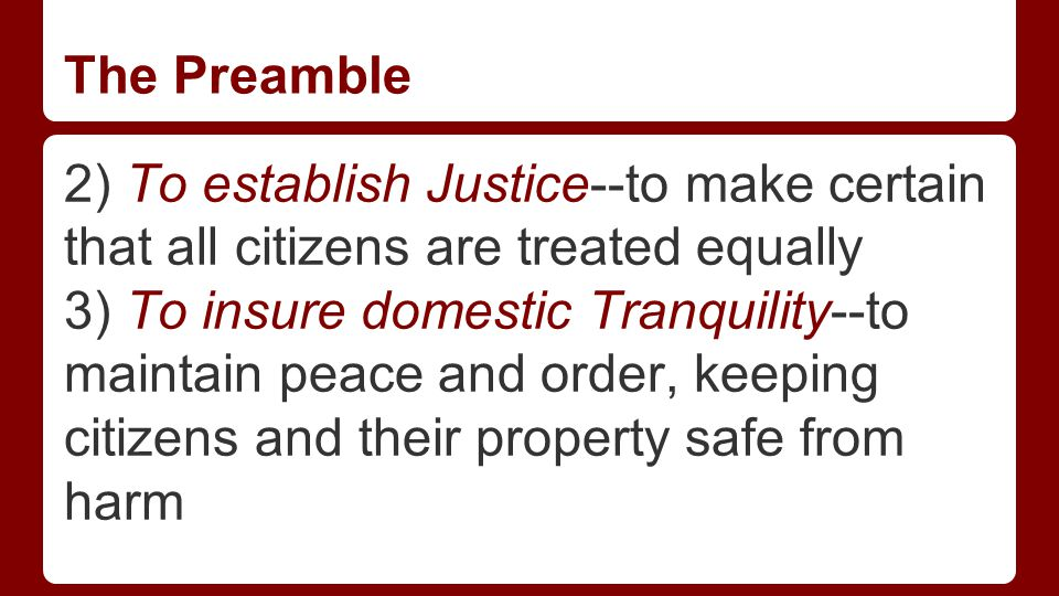 The Preamble 4) To provide for the common defense--to ready militarily to protect the country and its citizens from attack.