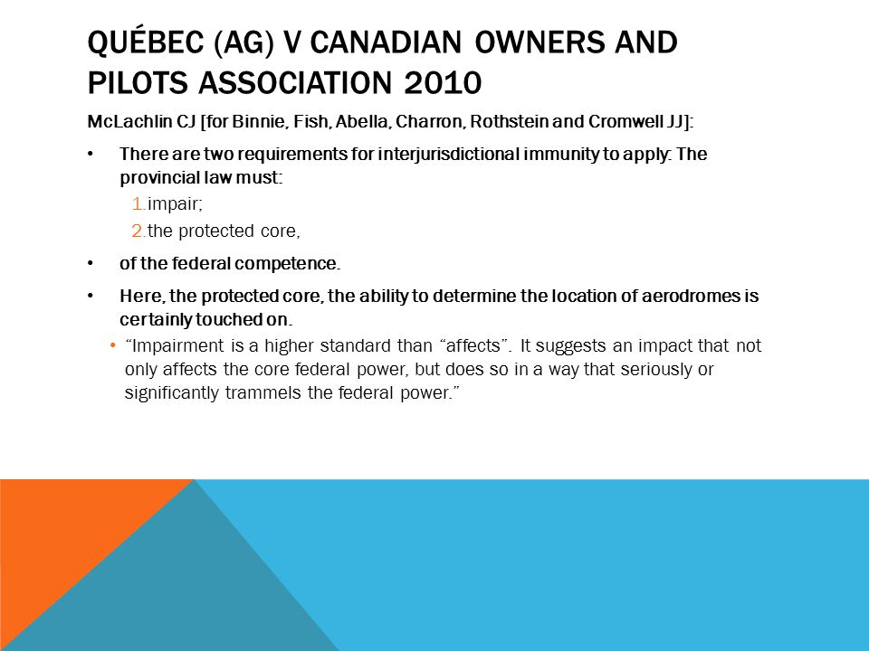 Québec (AG) v Canadian Owners and Pilots Association 2010