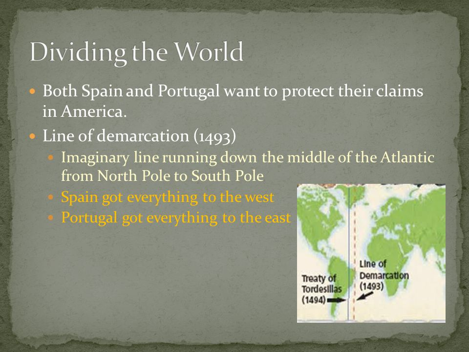 Dividing the World Both Spain and Portugal want to protect their claims in America. Line of demarcation (1493)