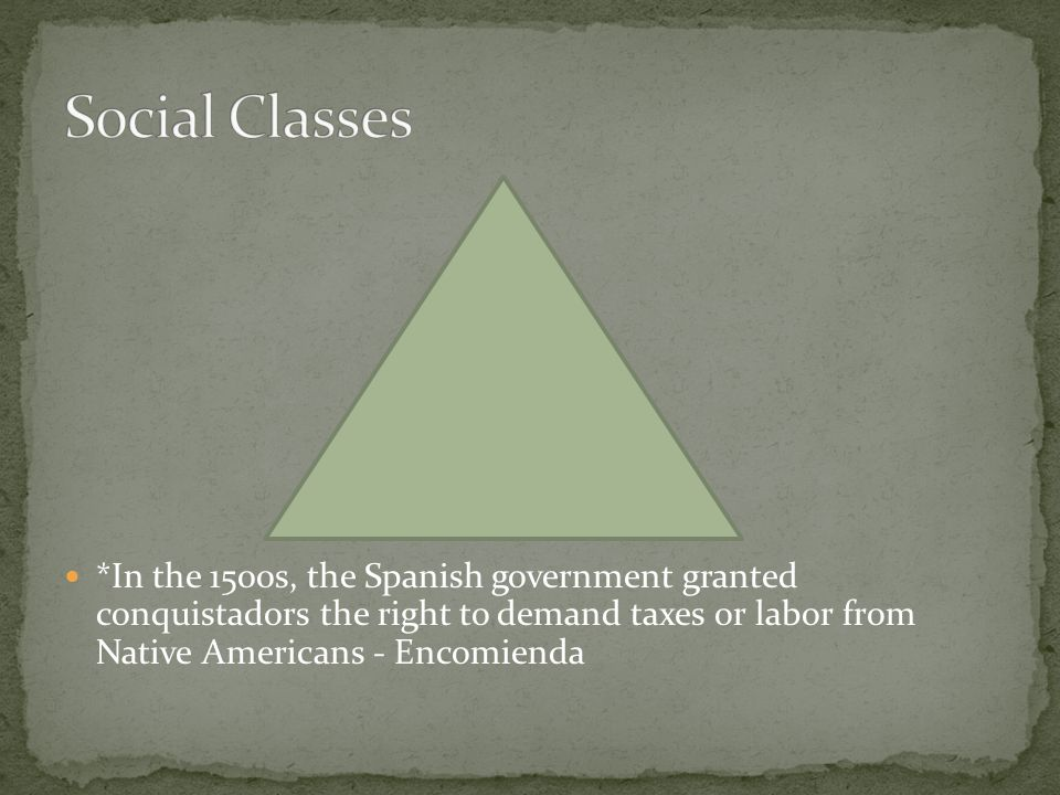 Social Classes *In the 1500s, the Spanish government granted conquistadors the right to demand taxes or labor from Native Americans - Encomienda.
