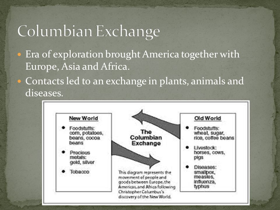 Columbian Exchange Era of exploration brought America together with Europe, Asia and Africa.