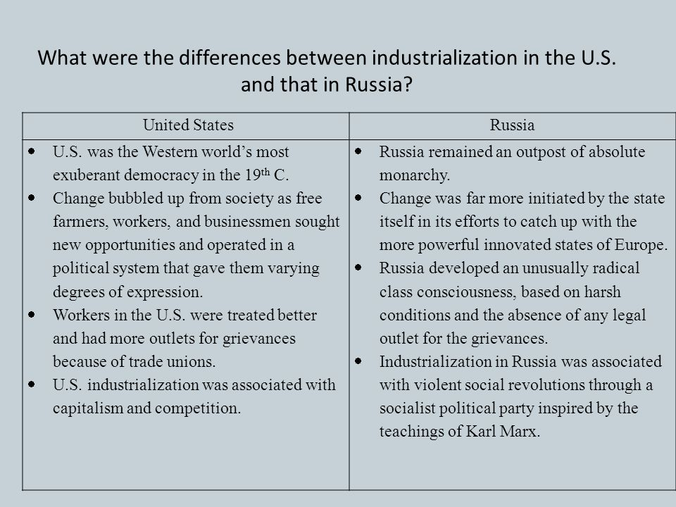 What were the differences between industrialization in the U. S