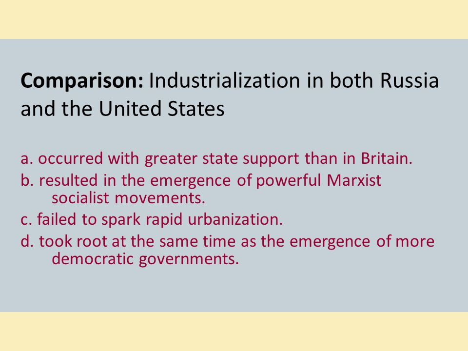 Comparison: Industrialization in both Russia and the United States