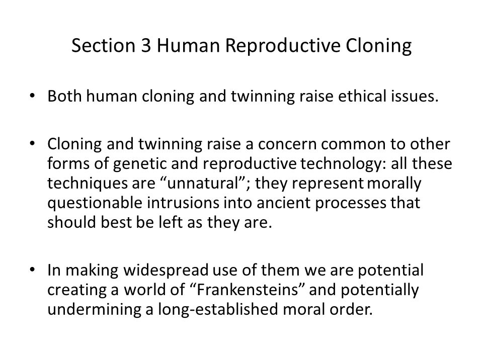 The moral issues of cloning