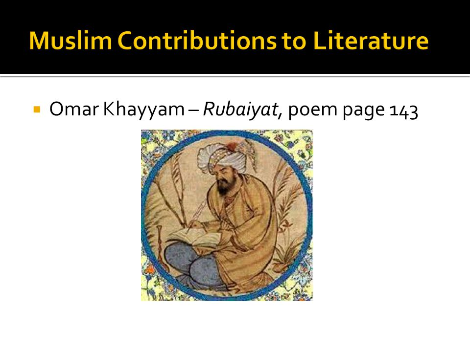 Muslim Contributions to Literature